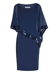 Gina Bacconi Crepe And Chiffon Dress With Sequin Trim Dark Blue