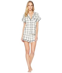 Ugg Amelia Woven Plaid Pj Set Cream Black Pajama Sets Bone