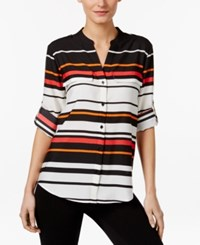 Calvin Klein Striped Roll Tab Blouse Black Watermelon