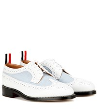 Thom Browne Leather And Canvas Brogues White