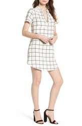 Lush Hailey Crepe Shift Dress Ivory Black Grid