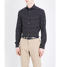 Ralph Lauren Purple Label Striped Tailored Fit Cotton Shirt Dark Blue