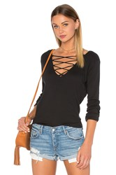 Ragdoll Rib Long Sleeve Lace Up Tee Black