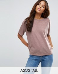 Asos Tall Linen Mix T Shirt Mink Pink