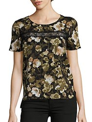 French Connection Adeline Dream Printed Roundneck Top Olive Night