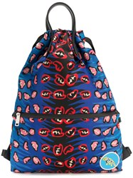 Fendi Printed Backpack Polyester Blue