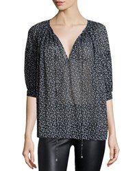 Michael Kors Half Sleeve Floral Print Blouse Black White