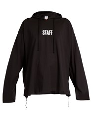 Vetements X Hanes Staff Hooded Cotton Sweatshirt Black Print
