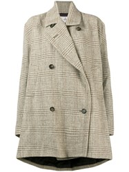 Vivienne Westwood Checked Double Breasted Swing Coat Brown