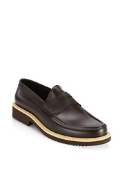 Saks Fifth Avenue Collection Contrast Sole All Weather Rubber Penny Loafer Brown