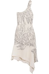Halston Heritage One Shoulder Asymmetric Printed Crepe Dress White