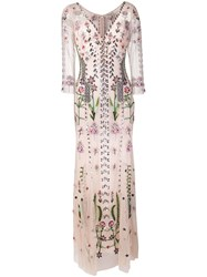 Temperley London Floral Embroidered Evening Dress Pink