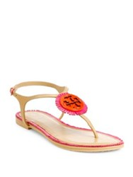 Tory Burch Miller Fringe Logo Leather T Strap Sandals Hibiscus Flower
