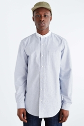 Shades Of Grey By Micah Cohen Mandarin Collar Button Down Shirt Blue