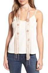 Hinge Women's Beaded Skinny Scarf Tan Combo