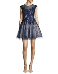 Basix Ii Floral Lace Fit And Flare Dress Navy