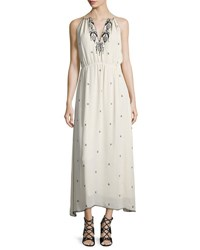 Haute Hippie Talitha Embroidered Silk Strappy Racerback Gown Antique