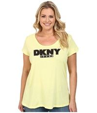 Dkny Plus Size Foil Outline Logo Tee Neon Zest Women's T Shirt Yellow