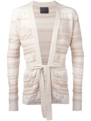 Laneus Multi Pattern Belted Cardigan Nude Neutrals