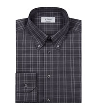 Eton Contemporary Fit Checked Shirt Male Grey