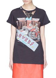 Forte Couture 'Angel' Lace Panel Graphic Print T Shirt Black