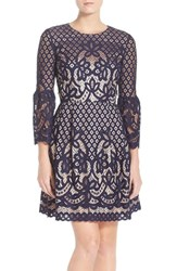 Women's Eliza J Bell Sleeve Fit And Flare Dress Navy