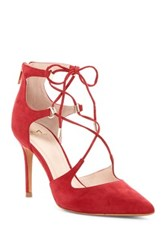 Marc Fisher Toni Lace Up Pointed Toe Pump Red
