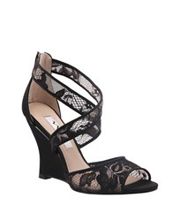Nina Elyana Peep Toe Wedge Sandals Black