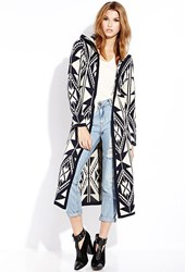Forever 21 Out West Hooded Maxi Cardigan Navy Taupe