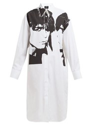 Calvin Klein 205W39nyc Stephen Sprouse Portrait Print Cotton Poplin Shirt White Black