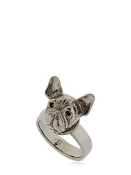 Mg Trends Silver And Crystal French Bulldog Ring