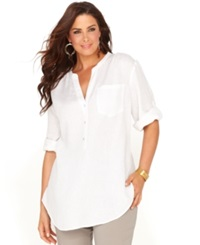 Inc International Concepts Plus Size Top Three Quarter Sleeve Linen Tunic
