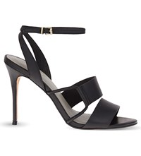 Reiss Josephine Leather Heeled Sandals Black