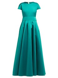 Rochas Short Sleeved Duchess Satin Gown Green