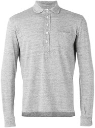 Doppiaa Long Sleeve Polo Shirt Grey
