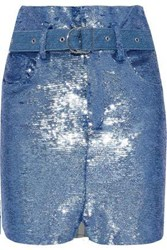 Iro Woman Belted Sequined Stretch Knit Mini Skirt Blue