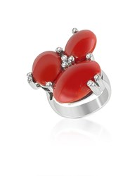 Del Gatto Diamond And Coral Three Stone 18K Gold Ring Red
