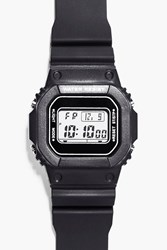 Boohoo Retro Sports Watch With Square Face Black