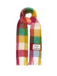 Acne Studios Vally Checked Wool Blend Scarf Pink