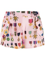 Mr And Mrs Italy Medal Pattern Shorts Pink