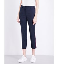 Sandro Besta Contrast Piped Twill Trousers Navy Blue