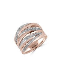Effy Pave Rose Diamond And 14K Rose Gold Crossover Ring