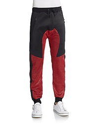 American Stitch Mesh Panel Jogger Pants Red
