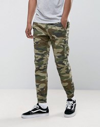 Pull And Bear Regular Fit Cargo Joggers In Green Camo Green