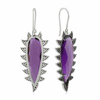Meghna Jewels Claw Drop Earrings Amethyst And Black Diamonds Pink Purple