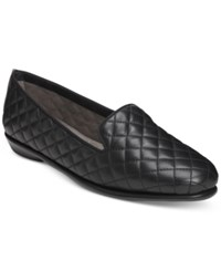 Aerosoles Betunia Smoking Flats Women's Shoes Black Quilted