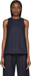 Paco Rabanne Navy Wool Twill Buttoned Sleeveless Top