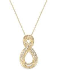 Macy's Diamond Infinity Pendant Necklace 1 2 Ct. T.W. In 14K Gold Plated Sterling Silver Yellow Gold