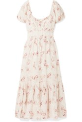 Loveshackfancy Angie Gathered Floral Print Linen Maxi Dress Cream