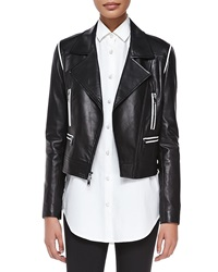 Dkny Cropped Leather Zip Moto Jacket Black White